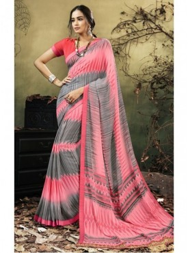 Triveni Faux Georgette Maroon Casual wear Printed Contemporary Sarees