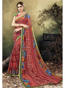 Triveni Faux Georgette Brown Casual wear Printed Contemporary Sarees