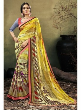 Triveni Faux Georgette Yellow Casual wear Printed Contemporary Sarees