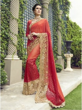 Triveni Faux Georgette Orange Partywear Embroidered Traditional Sarees