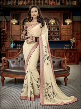 Triveni Faux Georgette Off White Border Worked Contemporary Sarees