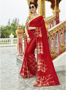 Triveni Pure Georgette Red Officewear Printed Traditional Sarees