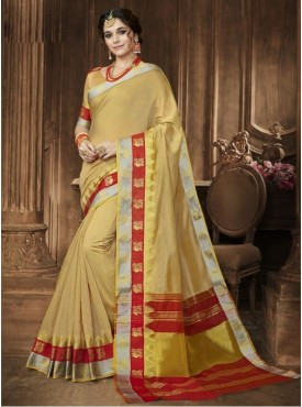 Triveni Blended Cotton Beige Festival Wear Printed Traditional Sarees