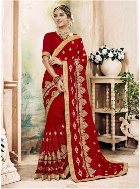 Triveni Pure Georgette Maroon Wedding Embroidered Traditional Sarees