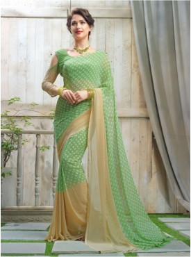 Triveni Faux Georgette Green Casual wear Printed Traditional Sarees