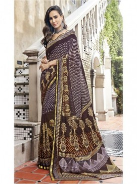 Triveni Faux Georgette Brown Casual wear Printed Traditional Sarees