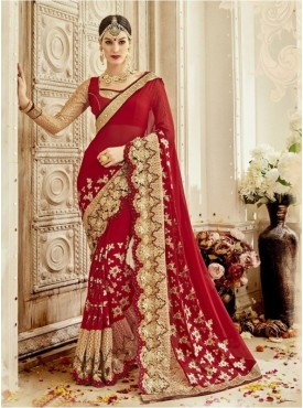 Triveni Art Silk Red Wedding Embroidered Traditional Sarees