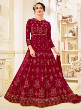 Roykals Textile Red Color Georgette Designer Heavy Embroidered Suit