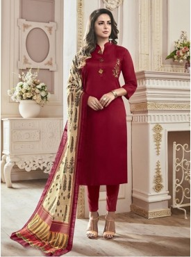 Roykals Textile Maroon Color Cotton Satin Classic Designer suits