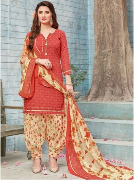 Roykals Textile Red Color Cotton Printed Patiala Suits