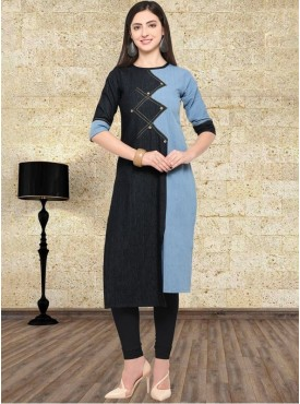 Roykals Textile Black Color Denim Exclusive Kurtis