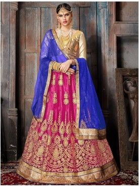Aasvaa Pink Color NET Designer Semi Stitched Lehenga Choli