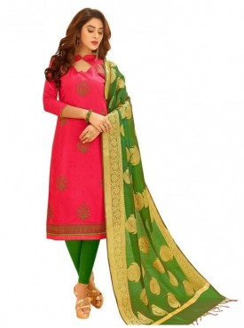 Aasvaa PINK Color Glaze Cotton Embroidered Unstitched Salwar Suits