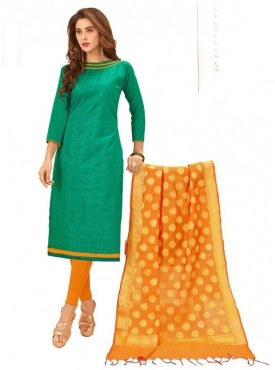 Aasvaa GREEN Color Glaze Cotton Embroidered Unstitched Salwar Suits