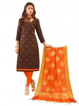Aasvaa BROWN Color Glaze Cotton Embroidered Unstitched Salwar Suits