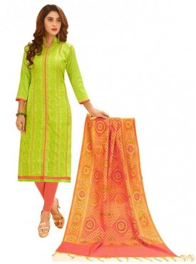Aasvaa LIGHT GREEN Color Glaze Cotton Embroidered Unstitched Salwar Suits
