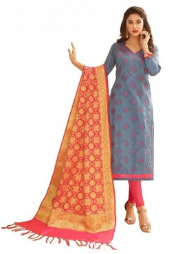 Aasvaa GREY Color Glaze Cotton Embroidered Unstitched Salwar Suits