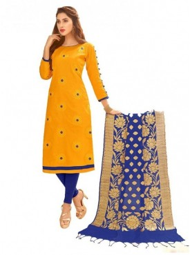 Aasvaa YELLOW Color Glaze Cotton Embroidered Unstitched Salwar Suits