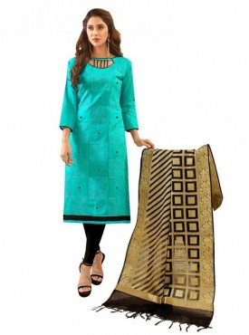 Aasvaa SKY BLUE Color Glaze Cotton Embroidered Unstitched Salwar Suits