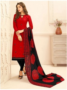 Aasvaa RED Color Jacquard Cotton Embroidered Unstitched Salwar Suits