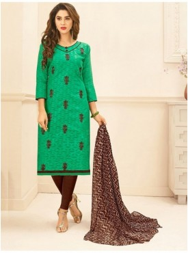 Aasvaa SEA GREEN Color Jacquard Cotton Embroidered Unstitched Salwar Suits
