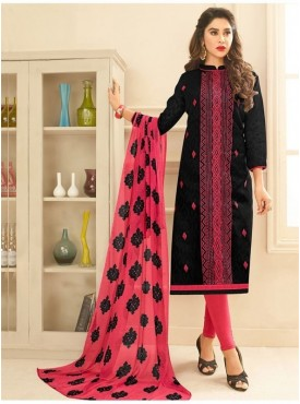 Aasvaa BLACK Color Jacquard Cotton Embroidered Unstitched Salwar Suits