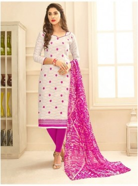 Aasvaa WHITE Color Jacquard Cotton Embroidered Unstitched Salwar Suits