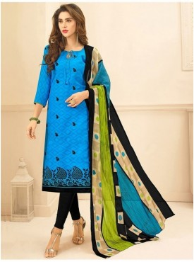 Aasvaa SKY BLUE Color Jacquard Cotton Embroidered Unstitched Salwar Suits