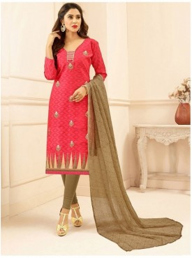 Aasvaa PINK Color Jacquard Cotton Embroidered Unstitched Salwar Suits