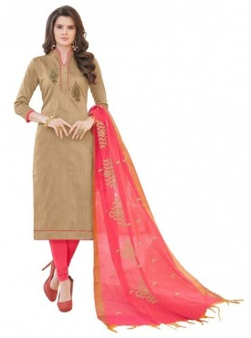 Aasvaa BROWN Color Banglori Cotton Embroidered Unstitched Salwar Suits
