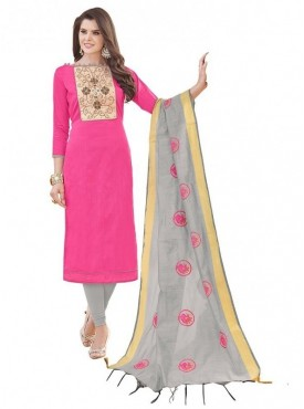 Aasvaa PINK Color Banglori Cotton Embroidered Unstitched Salwar Suits