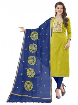 Aasvaa GREEN Color Banglori Cotton Embroidered Unstitched Salwar Suits