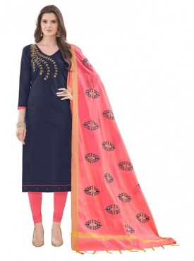 Aasvaa BLUE Color Banglori Cotton Embroidered Unstitched Salwar Suits