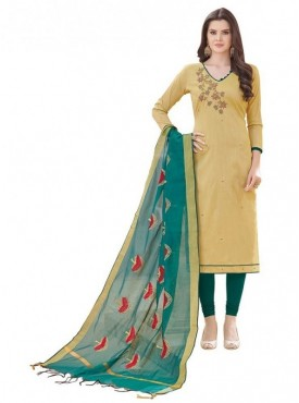 Aasvaa BEIGE Color Banglori Cotton Embroidered Unstitched Salwar Suits