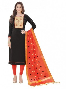 Aasvaa BLACK Color Banglori Cotton Embroidered Unstitched Salwar Suits