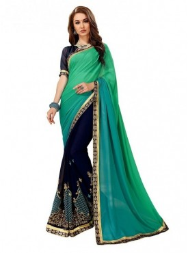 Viva N Diva Teal & Navy Blue Colored Heavy Dyed Georgette Saree