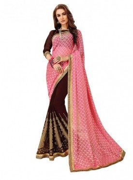 Viva N Diva Brown & Pink Colored Self Jacquard & Dyed Georgette Saree