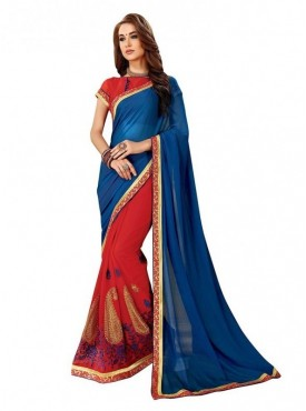 Viva N Diva Red & Blue Colored Dyed Georgette Saree