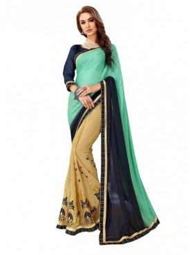 Viva N Diva Beige & Sea Green Colored Self jacquard & Dyed Georgette Saree