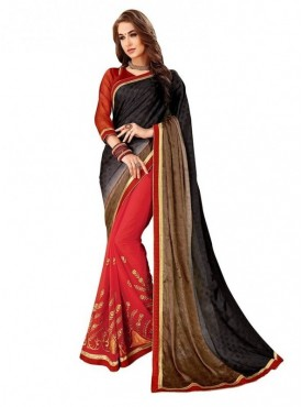 Viva N Diva Red & Shaded Black Brown Colored Self jacquard & Dyed Georgette Saree