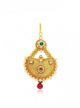 Roykals Textile Green Colored Alloy-Gold Plated Imitation Jewellery-Passa