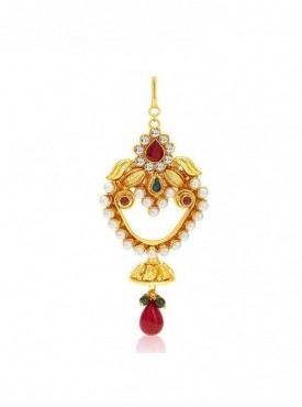 Roykals Textile Maroon Colored Alloy-Gold Plated Imitation Jewellery-Passa