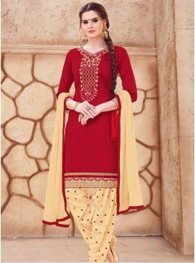 Roykals Textile Maroon Color Glaze Cotton Embroidered Patiyala Suits