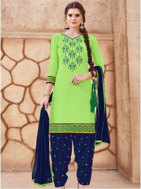 Roykals Textile Light Green Color Glaze Cotton Embroidered Patiyala Suits