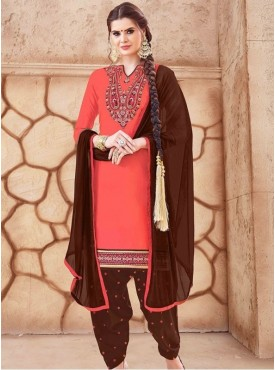 Roykals Textile Pink Color Glaze Cotton Embroidered Patiyala Suits