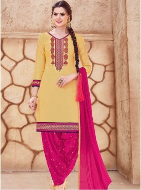 Roykals Textile Yellow Color Glaze Cotton Embroidered Patiyala Suits