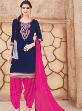 Roykals Textile Navy Blue Color Glaze Cotton Embroidered Patiyala Suits