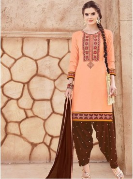 Roykals Textile Peach Color Glaze Cotton Embroidered Patiyala Suits