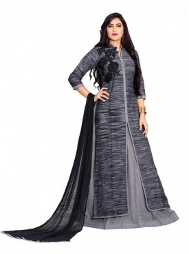 Umang NX Grey Color Jute Cotton Stitched Gown