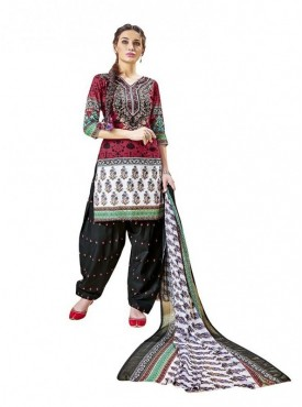 Viva N Diva Maroon Color Cotton Un Stitched Suits